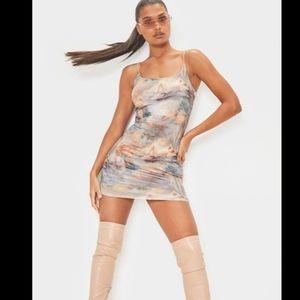 Multi Pastel Pink Renaissance Slinky Bodycon Dress